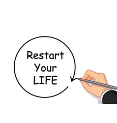 hand writing Restart your life vector image