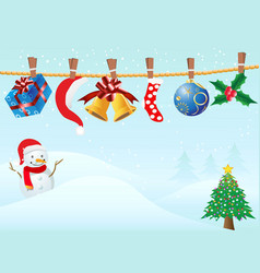 hanging christmas gifts in snowing background vector image