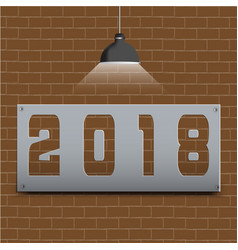 happy new year 2018 on brown brick floor and vector image