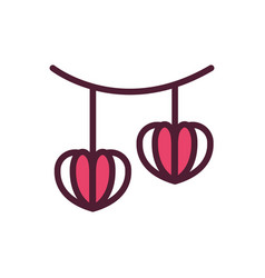 happy valentines day hanging hearts paper love vector image