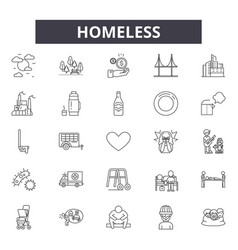 Homeless line icons signs set outline vector
