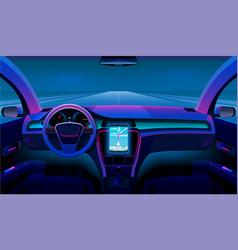 Inside futuristic car neon auto modern interior vector