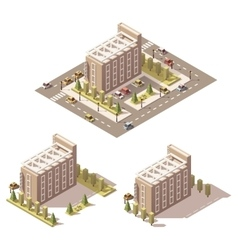 isometric low poly hotel vector image
