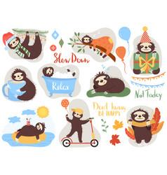 lazy sloth cute animal cartoon character vector image