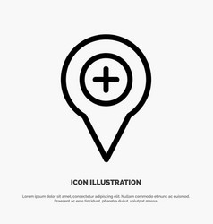 Location map navigation pin plus line icon vector