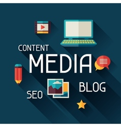 Media concept in flat design style vector image