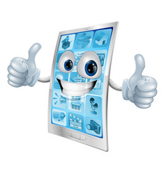 mobile phone mascot double thumbs up vector image
