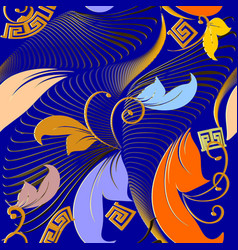 modern floral greek key meander seamless pattern vector image