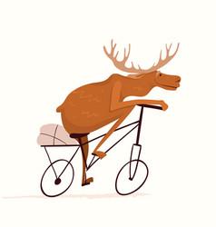 Moose riding bicycle funny cartoon animal racing vector