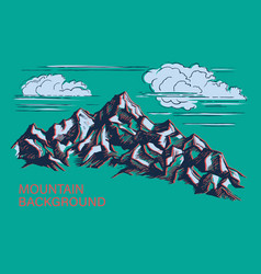 mountains hand-drawn vector image