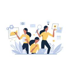multitasking businesswoman female office worker vector image