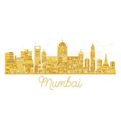 Mumbai india city skyline golden silhouette vector