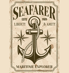 Nautical poster in vintage style with anchor vector