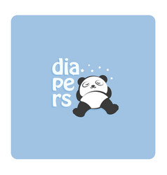 panda sleeps in diapers cartoon logo concept vector image