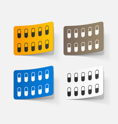 Paper sticker pill vector