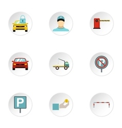Parking icons set flat style vector image