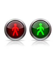 pedestrian traffic lights red and green isolated vector image
