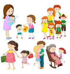People in family at different generations vector