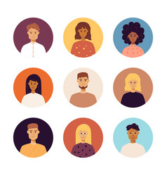 People portraits icons vector