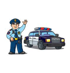Policeman in uniform and police car cartoon set vector