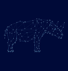 polygonal wireframe rhino with luminous points vector image