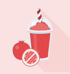 pomegranate smoothie with piece of pomegranate vector image
