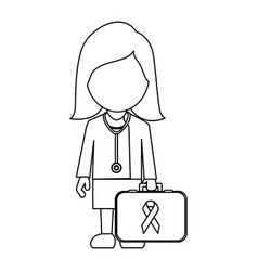 professional lady-doctor with emergency briefcase vector image