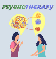 Psychotherapy concept with woman doctor and lady vector