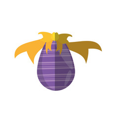 Purple easter egg bow decoration shadow vector