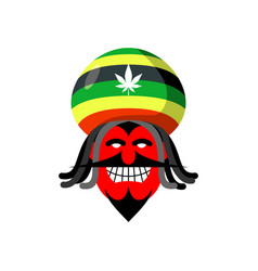 rastaman devil rasta cap and dreadlocks satan for vector image