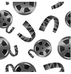 realistic detailed 3d reel of film tape seamless vector image