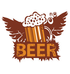 Retro banner with a glass of beer and wings vector