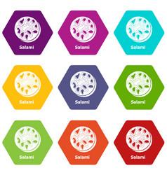 salami icons set 9 vector image