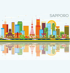 Sapporo skyline with color buildings blue sky and vector