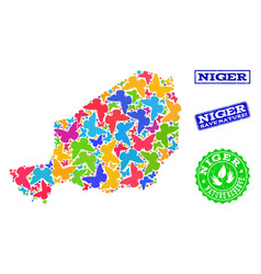 Save nature composition of map of niger with vector