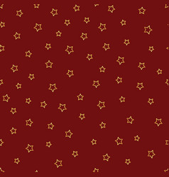 seamless pattern with gold stars contours on red vector image