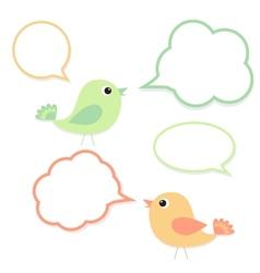 set birds with speech bubbles vector image