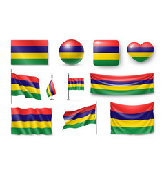 set mauritius flags banners banners symbols vector image