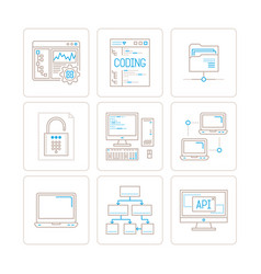 set of computer icons and concepts in mono thin vector image