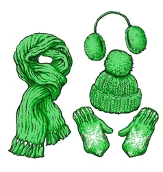 Set of green knotted scarf hat ear muffs and vector