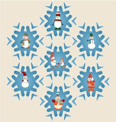 set of Snowman pattern- vector image