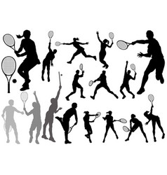set tennis player silhouettes vector image