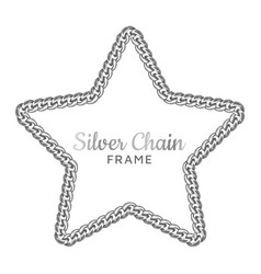 silver chain star border frame wreath starry vector image