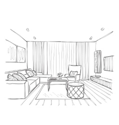 Sketch of interior Beautiful room vector image