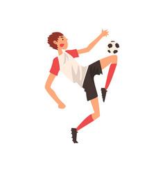 soccer player kicking ball professional football vector image