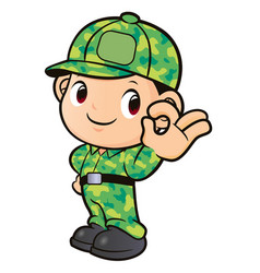 soldier character ok gesture isolated on white vector image