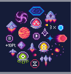 Space game pixel art aliens and spaceship icons vector