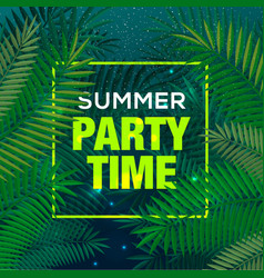 Summer time party background palm leaf sky vector