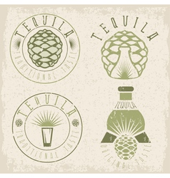 tequila vintage grunge set labels with agave and vector image