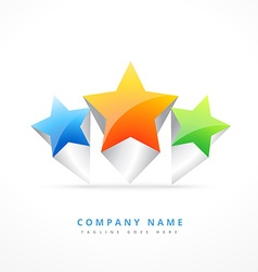 three star logo template design vector image